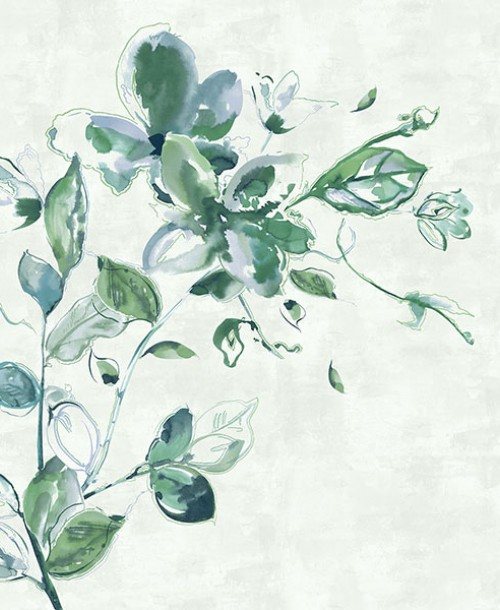 Sumi-e by Galerie 30621 Watercolour Flower Green Mural