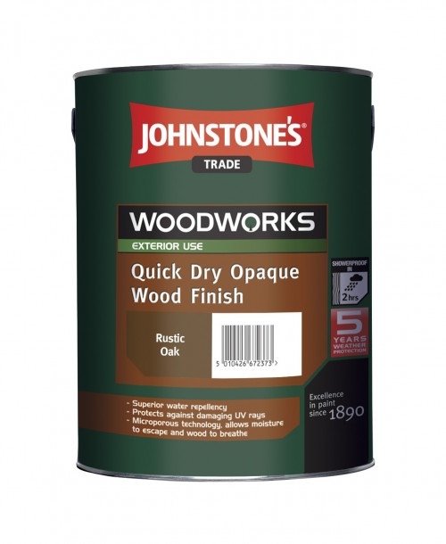 Johnstone's Trade Quick Dry Opaque Wood Finish - 5 Litres Ebony