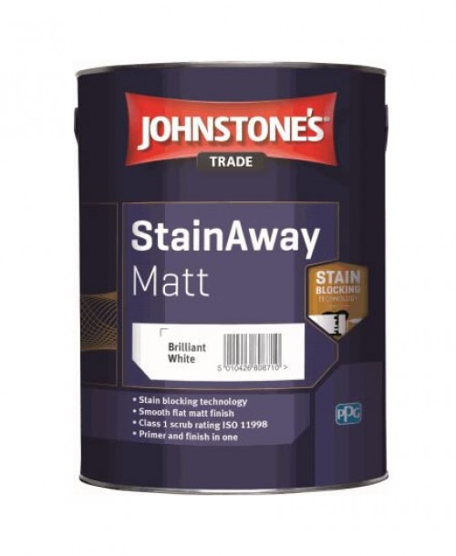 Johnstone's Trade StainAway Matt Emulsion - 5 Litre Brilliant White